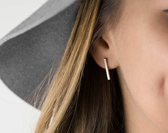 Bar Stud Earrings, 14k Gold Filled Earring or Sterling Silver / Simple Gold Earrings, Elegant, Minimal, Timeless Layered and Long LE411