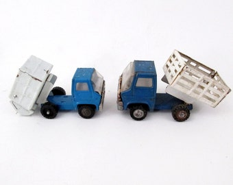 Vintage MARX Toy Dump and Trash Truck / Set of Two Made in Japan