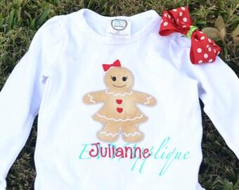 Girls Gingerbread Shirt personalized- girls christmas shirt, Christmas outfit!  Custom Christmas Shirt for Girls
