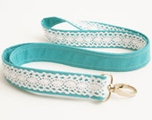 Teal Fabric and Lace Lanyard - 1 Inch Wide Cute Key Lanyard - ID Badge Holder - Key Strap - Teacher Lanyard - Key Leash - Lace Lanyard