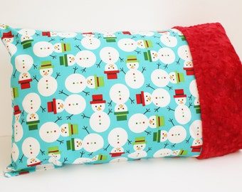 Christmas Toddler Travel Pillowcase for 12 x 16 Or 13 x 18 Inch Pillow - Minky Pillowcase - Snowman Pillow Case - Christmas Pillow for Kids