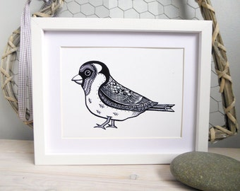 Goldfinch bird A5 Black and white print