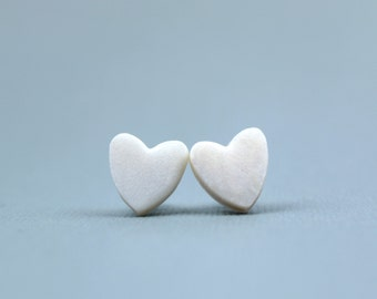 Shimmering Heart Earrings, Pearl Heart Earrings, Shimmering White Heart Studs, Valentines gifts for her, Romantic Gifts, Bridesmaid Earrings