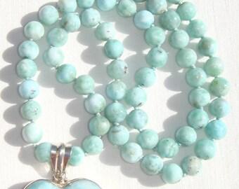 Larimar Heart Necklace, Larimar Heart Pendant, Blue Larimar Pendant Necklace, Larimar Pendant, Hand-knotted Dominican Larimar Gemstones