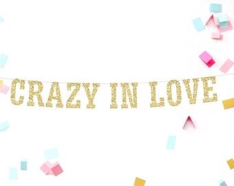 Crazy in Love Banner, Engagement Banner, Bridal Shower Banner, Bachelorette Banner, Glitter Banner, Reception Banner, Wedding Banner