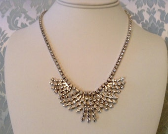 Vintage Rhinestone Necklace Clear Prong Set Bib Pattern