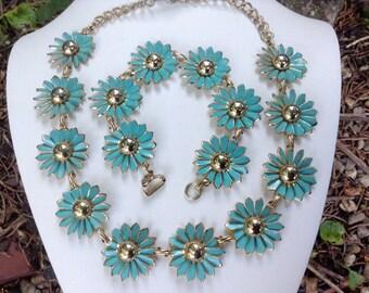 1950s Vintage Necklace and Bracelet Demi Parure Turquoise Blue Flowers