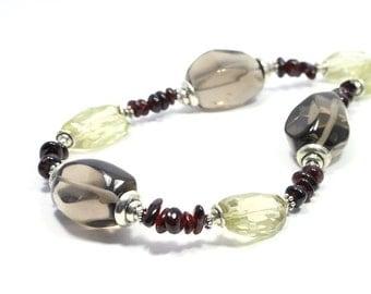 Semi Precious Stone Necklace - Citrine, Garnet, Smoky Quartz Necklace - Gemstone Necklace - Gemstone Jewelry - Big Skies Jewellery