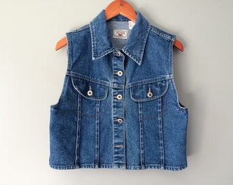 Vintage Denim Vest Denim Sleeveless Vest Blue Jean Hipster Sleeveless Jean Jacket Denim Top Sears Size Medium 100% Cotton Nevada Jeanswear