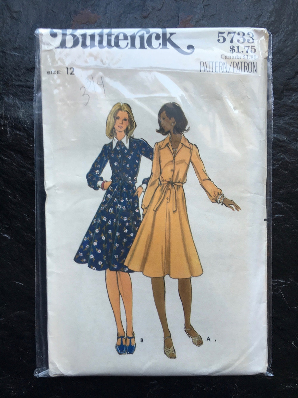 Vintage 1970s Button Down Shirt Dress Pattern Butterick
