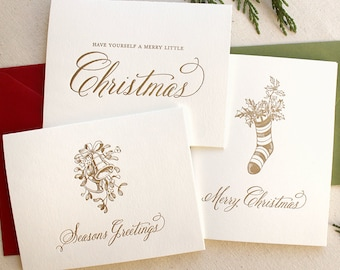 Letterpress Vintage Holiday Card Series - Variety Pack - Set of 6 - Ready to Ship