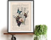 Retro Hand Flower Anatomy Print 1900 vintage floral page, Doctor gift, Shabby Chic Illustration,science art drawing botanic peony butterfly