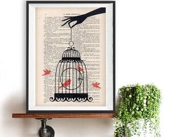 Artprint Hand Bird cage vintage paper image art print wall decor bird illustration birdcage print, birdcage vintage christmas gift