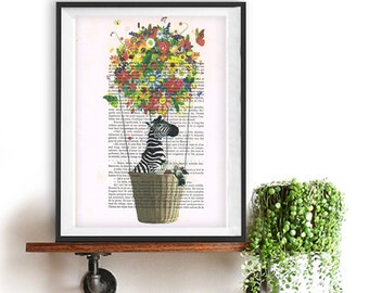 Flying Zebra art print, Colorful flowers balloon, DICTIONARY Print poster, Dorm decor, Home Wall decor, gift poster