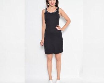 Vintage 90's Black Sports Dress / Sleeveless Black Mini Dress / Black Cotton Dress - Size Small