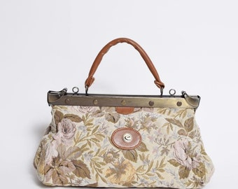 Vintage 90's Tapestry Bag with Metal Clasp