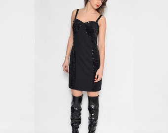 Vintage 90's Black Sequin Mini Dress