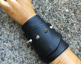 Black Leather Wrap Around Bracer Cuff w Antique Silver Metal Cone Spike Studs