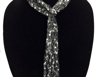 Ladder Yarn Skinny Scarf by Peace of the Lily #1147