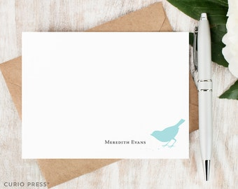 Personalized Notecard Set / Set of Flat Personalized Stationery Note Cards / Bird Monogram Stationary Thank You Cards // BIRD EATING SEEDS