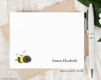 Personalized Notecard Set / Kids Personalized Stationery / Stationary Cards / children's girl's boy's baby cute note cards // BUMBLE BEE