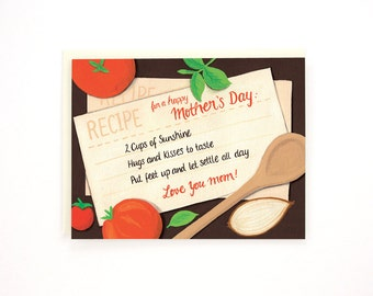 Happy Mother's Day - Recipe for a happy Mother's Day - Love you mom - Mother's Day greeting card / MOM-RECIPE
