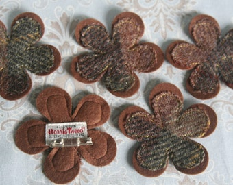 Harris tweed flower brooch in brown and green check