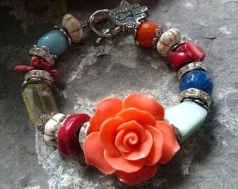 Bracelet corail, coral bracelet, amazonite bracelet, agate bead bracelt, colorfull bracelet, resin flower bracelet, rhinestone bracelet.