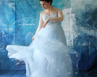 Classic Princess Style flower tulle Gown in blue,Wedding Dress Grace Stunning Light Blue Wedding Dress  - AM 198105020