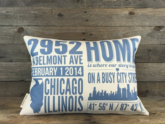 Custom home address pillow