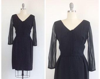60s Little Black Wiggle Dress / 1960s Vintage Bombshell Sheer Sleeve Crepe Formal Dress / Medium / Size 6 / 8