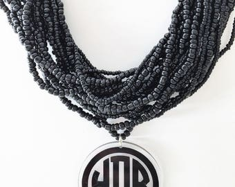 Monogrammed Necklace Multi Strand Beaded Necklace with Acrylic Monogram Disc