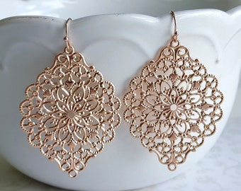 SALE Rose Gold Filigree Lace Earrings, Pink Gold Romantic Wedding Bridal Jewelry, Boho Earrings, Bridesmaid Gift, Copper