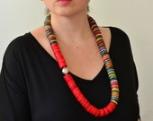 On SALE/Coral necklace/Unique necklace for women/Ethnic necklace/Red statement necklace/African necklace/Tribal necklace/Coral red necklace