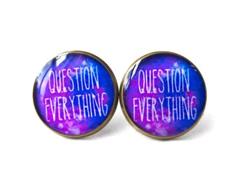 Galaxy Question Everything Earring, 90s Soft Grunge Pastel Goth Agnostic Atheist Jewelry, Antisocial Sarcastic Jewelry