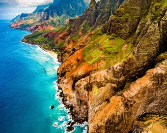 "Beautiful Hawaiian Landscape Fine Art Print titled ""Na Pali"" printed on Aluminum Metal or Canvas"