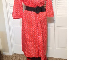 Vintage red day dress with blue and white pattern