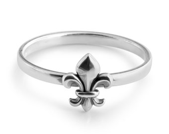 Fleur de Lis French Lily Flower European Royal Symbol Stackable Ring #925 Sterling Silver #Azaggi R0532S