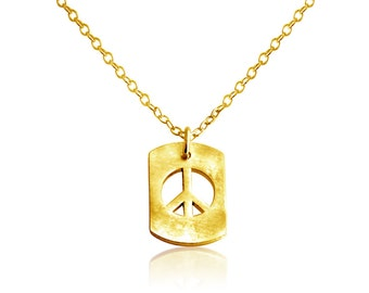 Peace Sign Hippie Symbol Dog Tag Charm Pendant Necklace #14K Gold Plated over 925 Sterling Silver #Azaggi N0706G