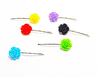 Set of 6 Assorted Colorful Rose Resin Bobby Pin - Hair Pins - Hair Accessories - Colorful Hair Clips - Girl Hair Pin - Bobby Pins Set