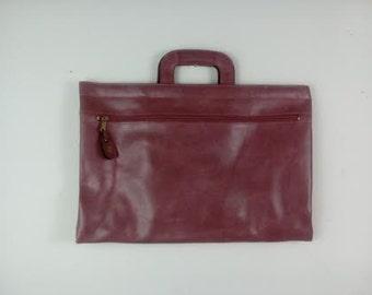 FOR HER Vintage Leather Briefcase Women's Structured Work Attache Satchel Divided Portfolio Case