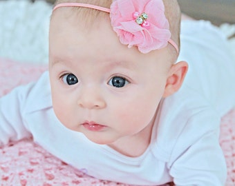 Pink Flower Headband, Light Pink Headband, Flower Headband, Newborn Headband, Photo Prop Headband, Pink Flower Girl, Pink Wedding Headband