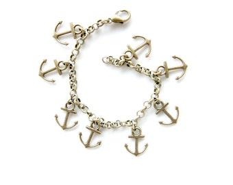 Anchor charm bracelet pendant summer bronze gift for her