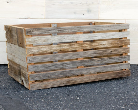 "Barn Wood Slat Crate 16"" x 12"" x 9"""