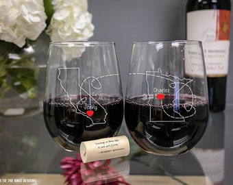 State to State Personalized Best Friend Stemless Wine Glasses - (Set of TWO) Custom Engraved Wine Glass - State Outline - Long Distance