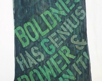 Goethe quote in super graphics - Extra Large Silk Chiffon Scarf