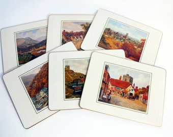Set 6 Vintage Cork Placemats - 6 Scenes English Villages & Landscapes by A R Quinton by Clover Leaf England - The Salmon Studio Dated 1988