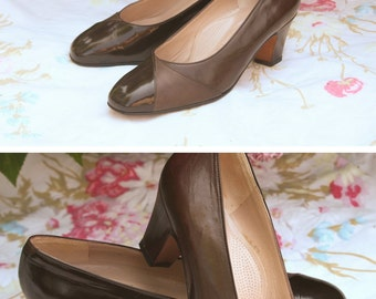 Shoes/heeled shoes Vero Cuoio, vintage leather, Brown, made in Italy size 37, wedding / party / ceremony