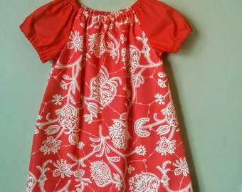 Girls Peasant Style Dress. Lark in Persimmon. Size 3.