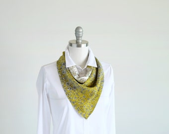 Sunshine yellow and white botanical triangle silk scarf in two Liberty summery prints, reversable summer accessories for her